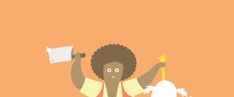 Une femme tenant un poulet