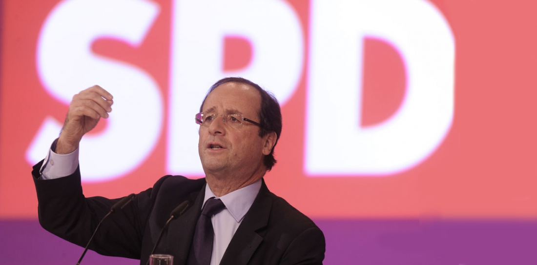François Hollande, à la tribune du SPD.