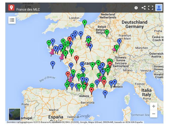 Carte des monnaies locales aujourd'hui en France. A retrouver sur http://monnaie-locale-complementaire.net/france/