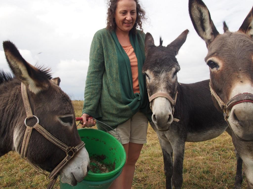 Lauriane avec ses trois ânes.