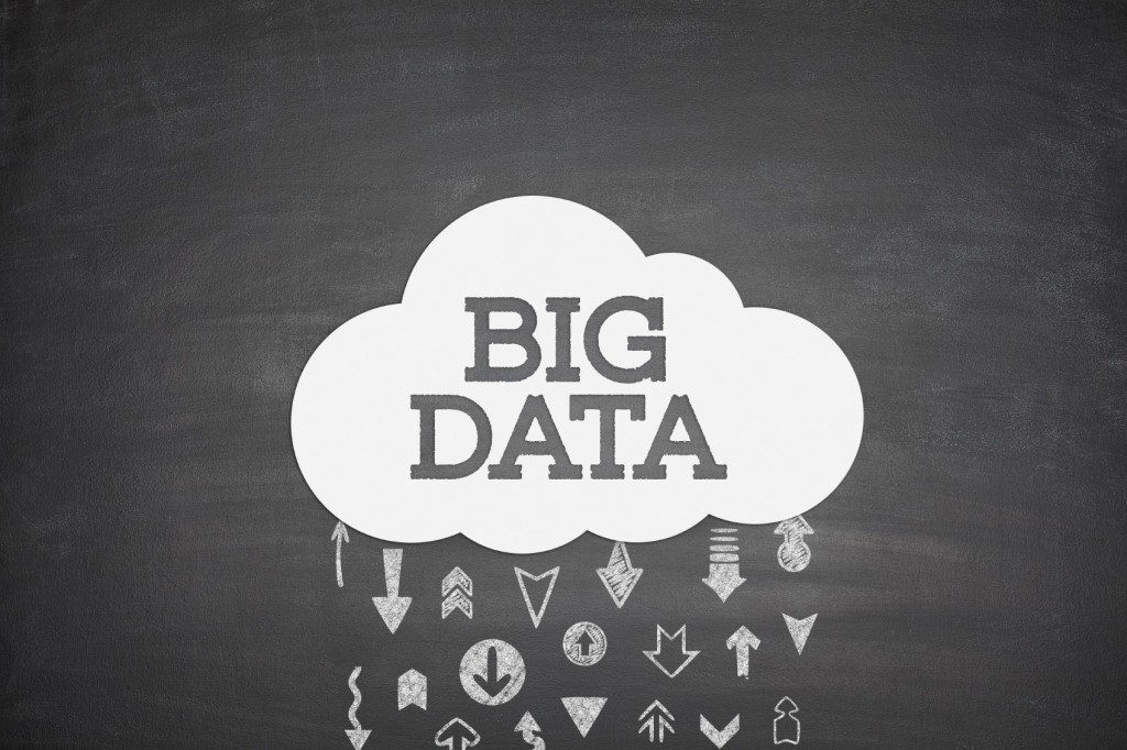 Big data cloud concept on black blackboard