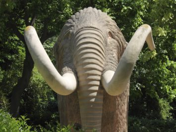 A monument of a mammoth in real size at Parc de la Ciutadela in Barcelona.