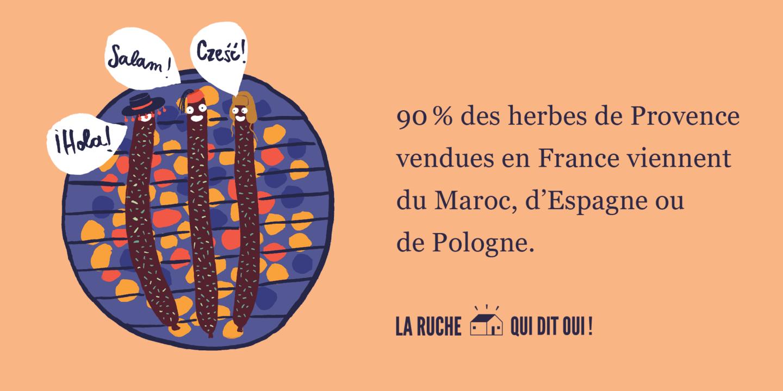 90% des herbes de Provence vendues en France proviennent du Maroc, d'Espagne ou de Pologne.